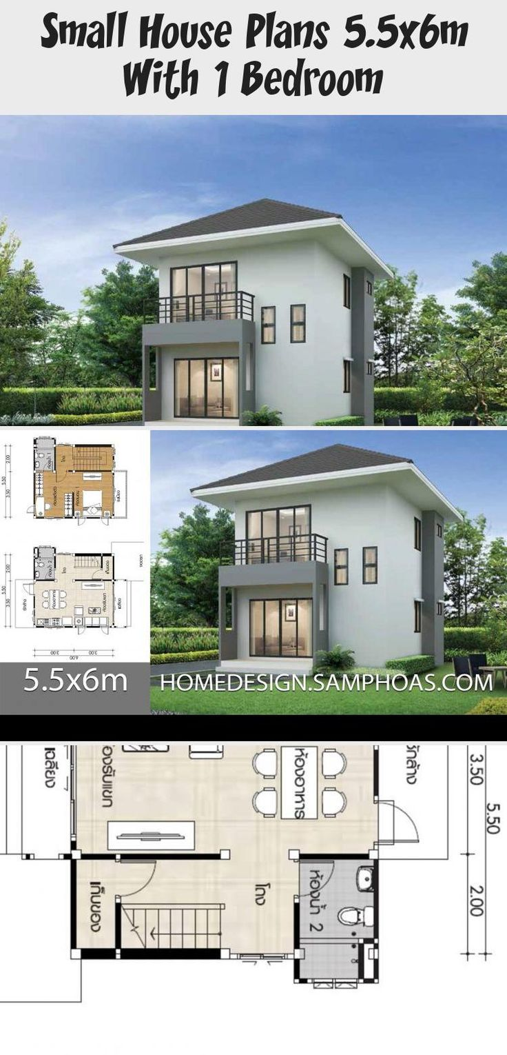 Small House Plans 5 5x6m With 1 Bedroom Home Ideas Verysmallhouseplans Smallhouseplansunder600sqft Smallhousepla In 2020 Small House Plans Small House House Plans