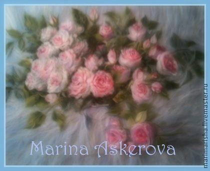 """Картина из шерсти """"Розовый букет"""" - искусство,декор для интерьера,оригинальный подарок"""
