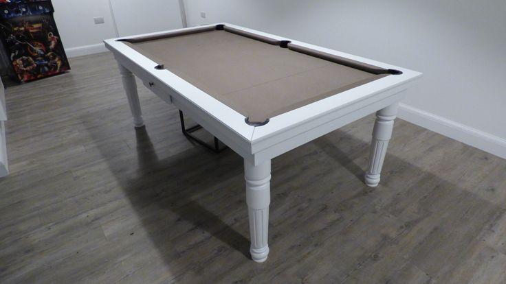 6ft English Modern Pool Table. Oak Wood #E8, Hainsworth Smart Taupe Cloth.