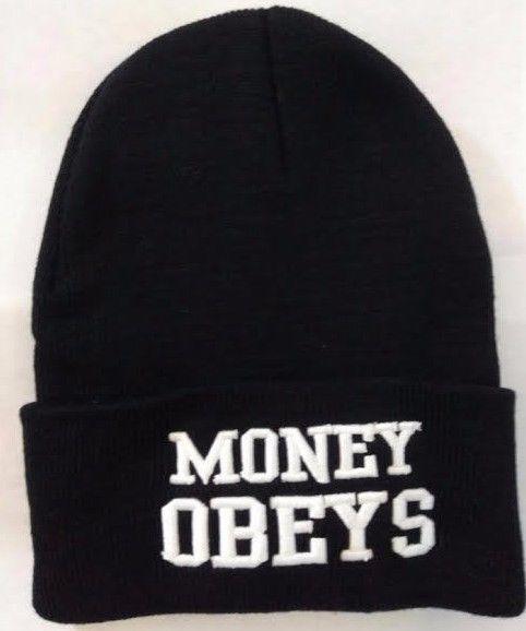 "@ http://stores.ebay.com/Chris-House-Of-Style Black & White Beanie ""Money Obeys"" Long Cuffed Beanie, Skull Cap, Vintage  #Decky #Beanie"