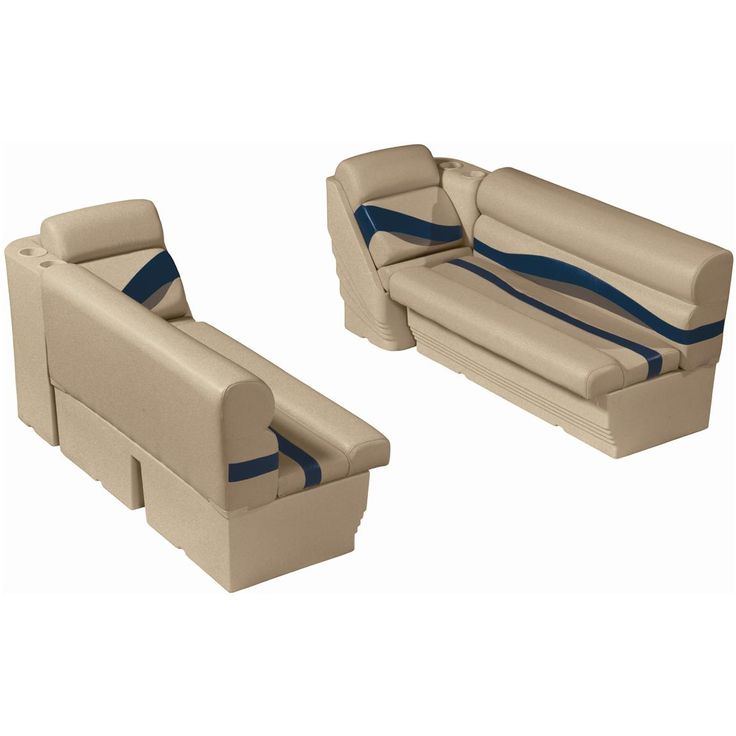 "Wise® Premier Pontoon 50"" Front Seat Group, Color A - Platinum Punch / Navy / Cobalt"