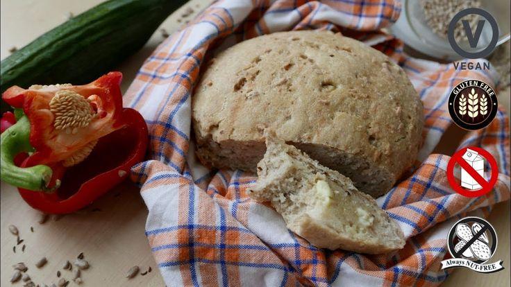 Simple No-Knead Gluten-Free Bread Recipe for vegan, gluten-free, dairy-free, and nut-free bread.