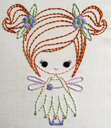 Fairy, Genie, and  Big Bow Dress up Cutesie Girls Digital Embroidery Patterns. $3.50, via Etsy.