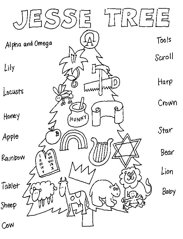 A Jesse Tree Coloring Page For Sunday School Bible Coloring Pages - Jesse-tree-coloring-pages