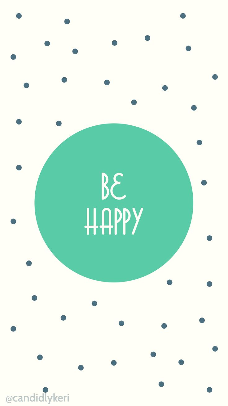 Be Happy Polka Dot Green And Blue Quote For Wallpaper On Desktop, Iphoneu2026