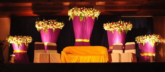 indian wedding reception outdoor space decoration pink gold colour light flower - Google Search
