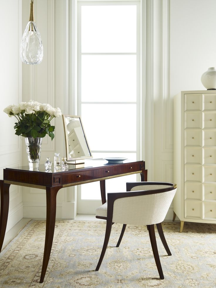 A perfect vanity setting - Thomas Pheasant for Baker (Diana Vanity & Chair in Luxe finish, Tall Bevel Cabinet in Cameo)