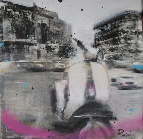 Il tempo sospeso – olio su tela cm. 40×40 - Vespa, dipinto con vespa, vespa Piaggio