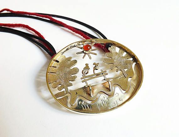 UNIQUE-Loving Birds brass necklace with carnelian, long engraved pendant,κολιε,κοσμώ,necklace, 3D