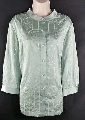 Bob Mackie NEW Mint Green Satin Sequined 3/4 Sleeve Button Down Shirt Ladies M