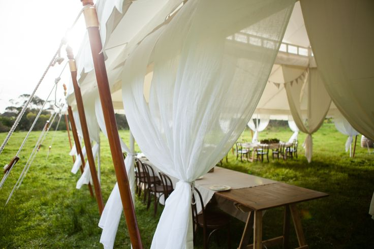 Floating cotton drapes, Gold-rimmed bamboo stakes and Plaited tie-backs. The Grand tent is amazing! Grand 11mx11m www.tentluxuryhire.com.au