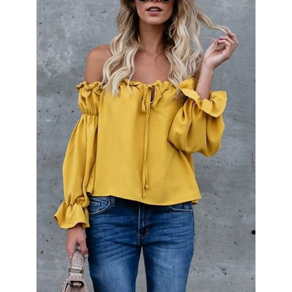 Choies Yellow Off Shoulder Bow Tie Front Long Sleeve Blouse (55 RON) ❤ liked on Polyvore featuring tops, blouses, yellow, long sleeve blouse, yellow long sleeve top, yellow blouse, brown long sleeve top and long sleeve tops