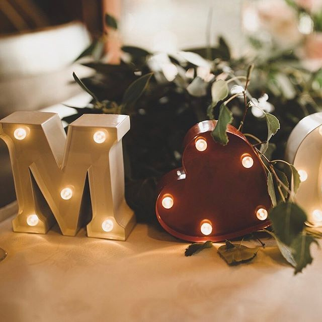 Our mini marquee lights that spell MR❤️MRS