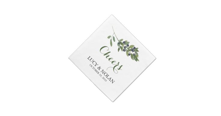 "FROM THE WEDDING COLLECTION WATERCOLOR OLIVE ORCHARD: Artwork of an Olive Branch simply placed top center with ""Cheers"" for your Wedding Paper Napkins. Customize the Paper Napkin with 3 Lines of Text. Perfect for your Bridal Shower, Rehearsal Dinner and Wedding Reception. If you would like a color change or design change please email paula@labellarue.com BEFORE ordering and I'll create a new design for you.Check for the Wedding Suite, INVITATION, RSVP, RECEPTION and GUEST SEATI..."