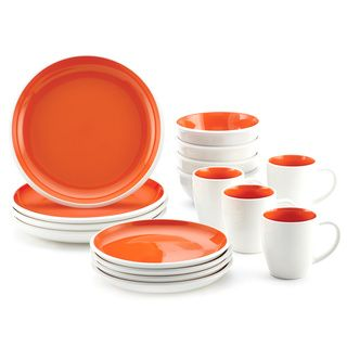 Shop for Rachael Ray Rise Stoneware 16-piece Orange Dinnerware Set. Get free…