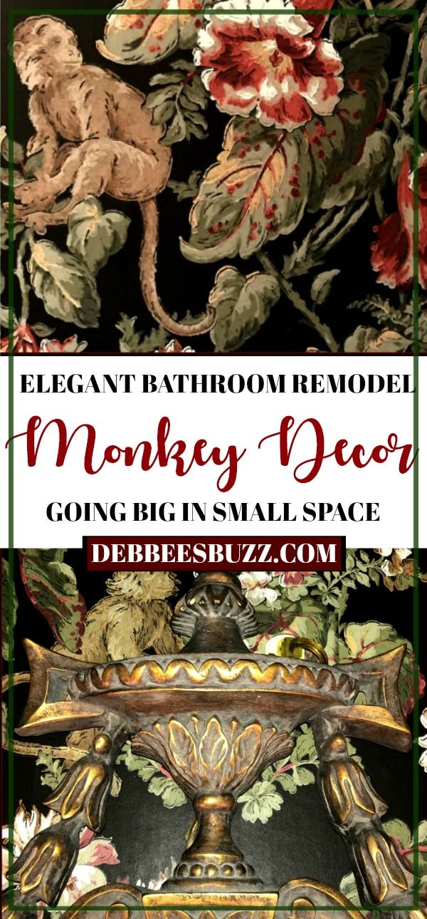 Monkey Decor Adds Impact to Small Powder Room