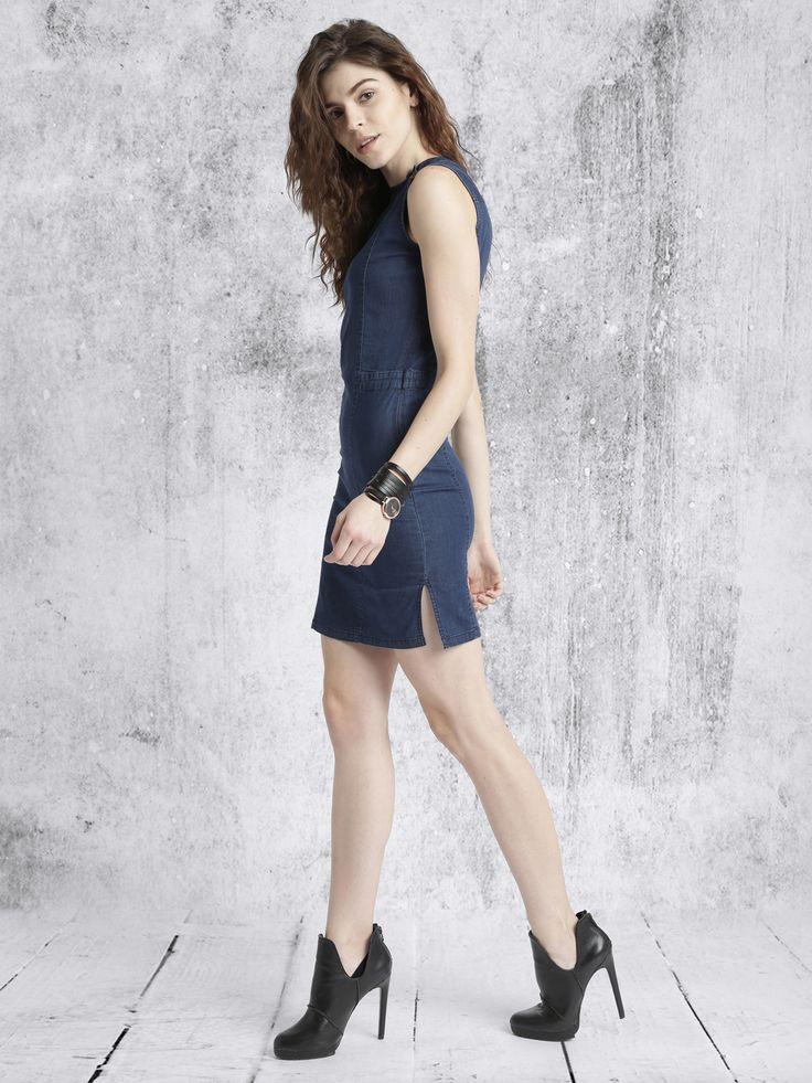 Roadster Women Blue Denim Bodycon Dress