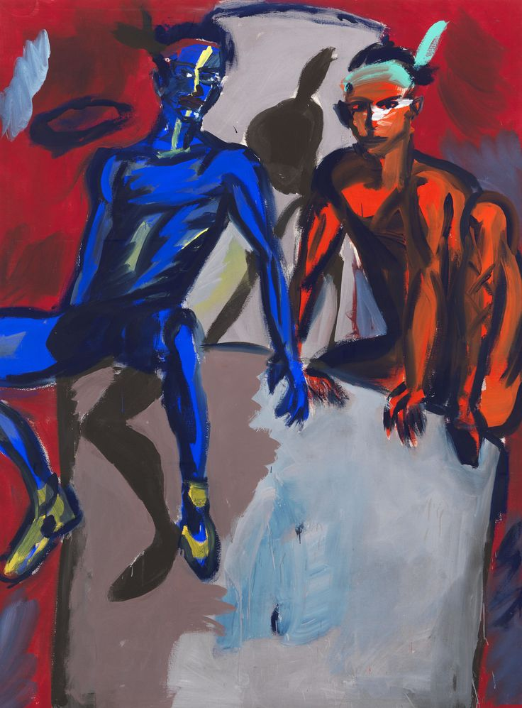 Rainer Fetting (German, b. 1949), 2 Indians (Fetting und Castelli), 1982. Dispersion on canvas, 280 x 210 cm.via purys