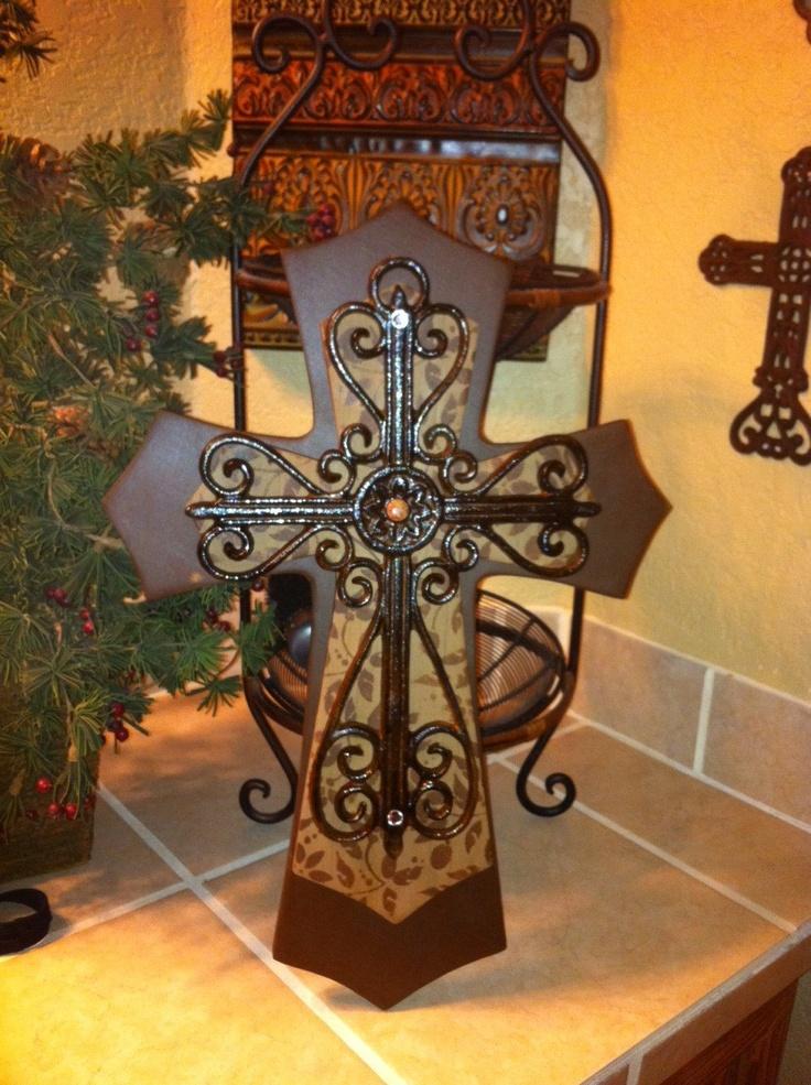 Large Brown and Tan Layered Wood Cross