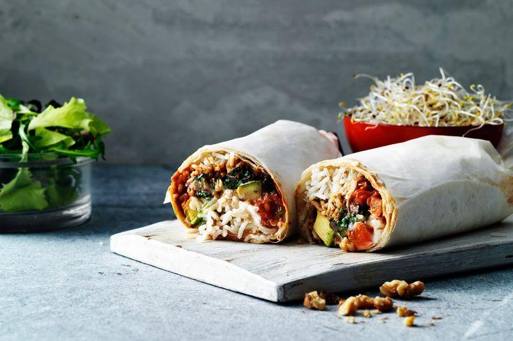Burrito's met geitenkaas en zwarte bonen