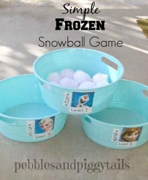 Fun Snowball Toss game to play at a FROZEN themed birthday party. Easy!- balled white socks if can't find Pom Poms. Use beach buckets instead. by stella