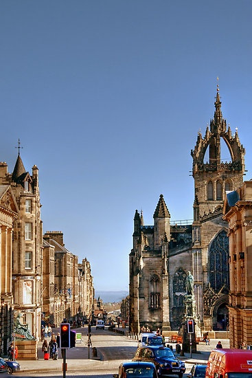Looking Down the Royal Mile to St Giles Cathedral ,Edinburgh,Scotland