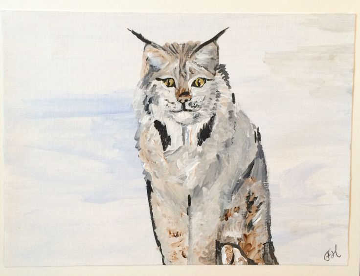 Lynx Hand Painted Holiday Card, Christmas or Winter, Cute winter animal, Acrylic Painting Art Card,  5 x 6.5in,  Winter Wildlife, wild cat by FHarrisArtShop on Etsy