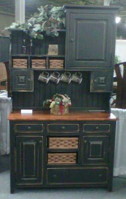 Something similar to this...mini coffee bar, holds groceries, displays seasonal plates...