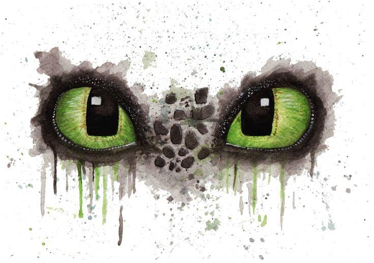 Toothless' eyes in watercolour by artafterchores.deviantart.com on @DeviantArt