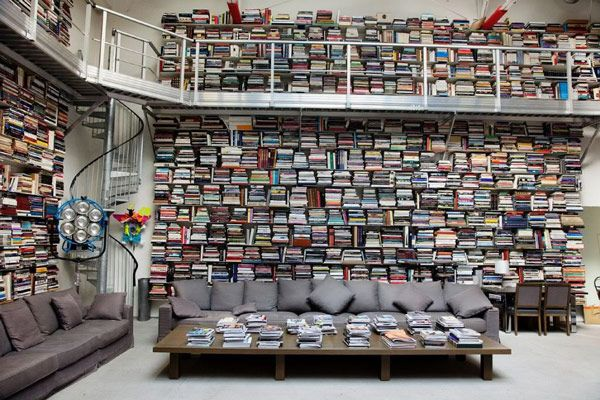 Karl Lagerfeld's home library.
