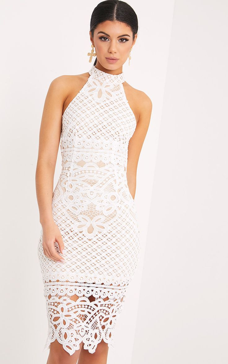 White Lace Sheer High Neck Bodycon Dress Pretty Little Thing 0hiPJGEo