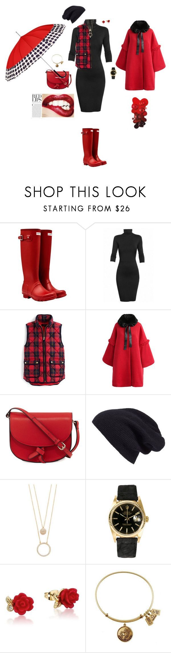 """""""Untitled #8791"""" by erinlindsay83 ❤ liked on Polyvore featuring Hunter, Undress, J.Crew, Chicwish, KC Jagger, Halogen, Kate Spade, Rolex, Disney and ShedRain"""