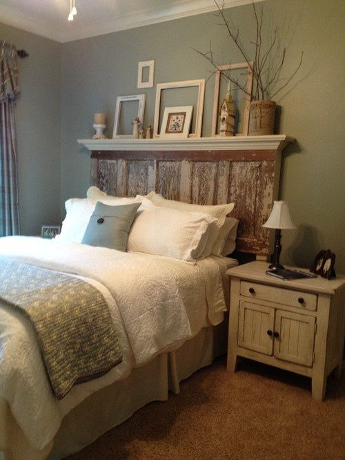 "Recycled and ""distressed"" door topped with shelf creates an interesting headboard."