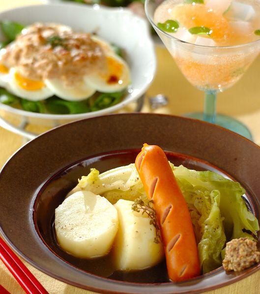 「春野菜とソーセージのシンプル煮込み」の献立・レシピ - 【E・レシピ】料理のプロが作る簡単レシピ/2011.04.19公開の献立です。