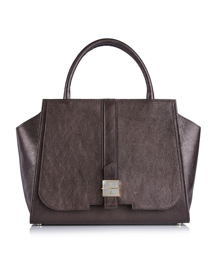 MELIA goat leather handbag in Iconic Brown by TANCHEL