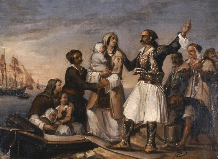 Τσόκος Διονύσιος (1820 - 1862) Ο αποχαιρετισμός του καπετάνιου. Λάδι σε μουσαμά.Συλλογή Ιδρύματος Ε. Κουτλίδη. Tsokos Dionysios (1820 - 1862) The Captain Bids Farewell. Oil on canvas. E. Koutlidis Foundation Collection