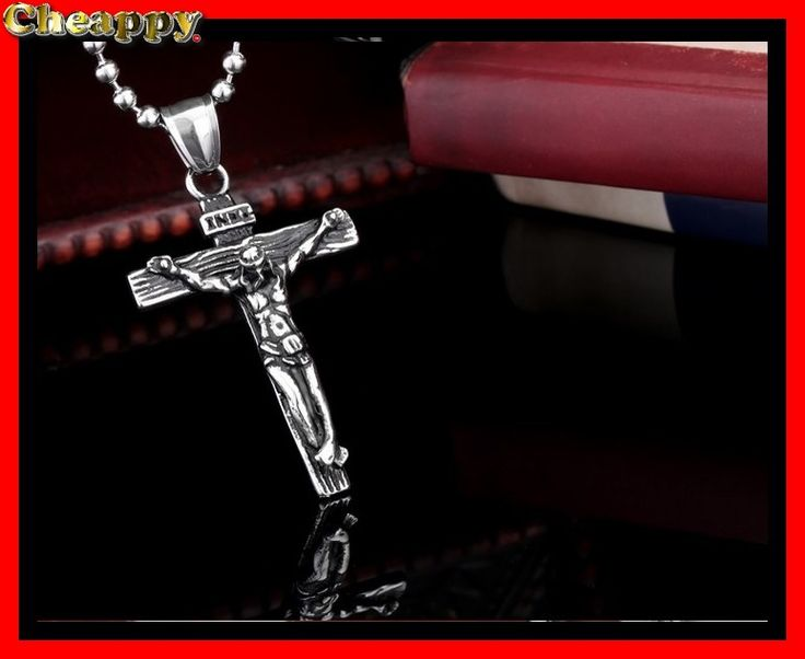 Mooi Kruis RVS staal met jezus afbeelding - Cheappy