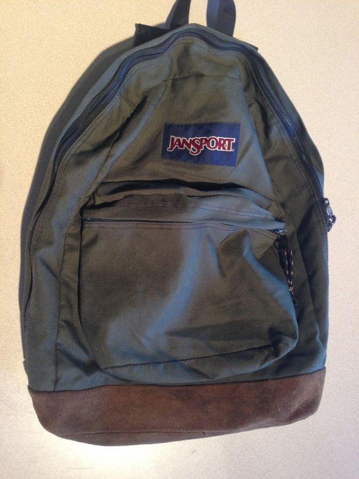 Vintage 90s Jansport Suede Leather Bottom Backpack Bookbag