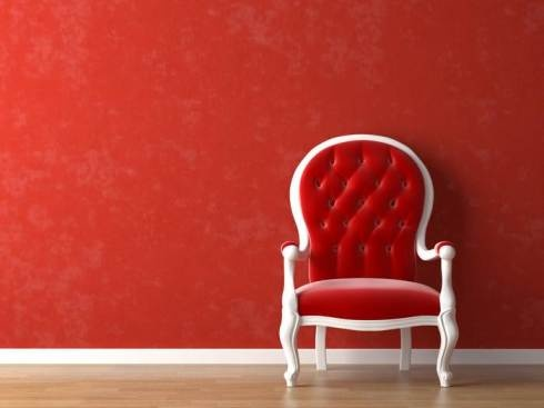 sillón chair decoración decoration rojo red wall pared miraquechulo