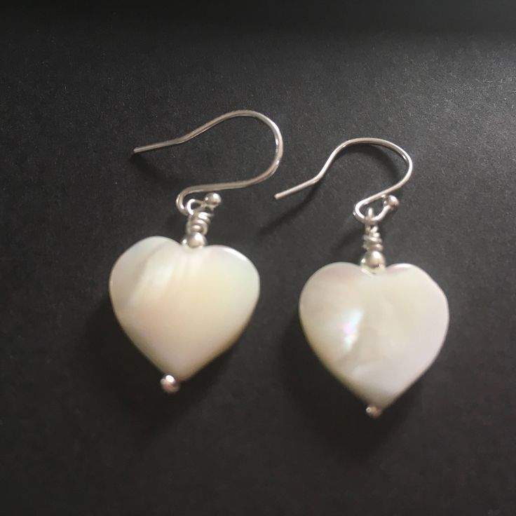 White Mother of Pearl Earrings, Sterling Silver Heart Earrings, MOP Dangle Earrings, Jewellery Gift For Her, Bridal Jewellery, by MairiJewellery on Etsy