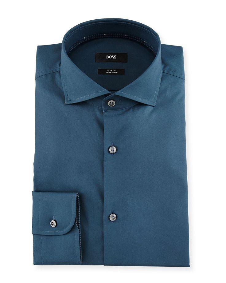 Jery Slim-Fit Solid Dress Shirt, Teal (Blue) - Boss Hugo Boss