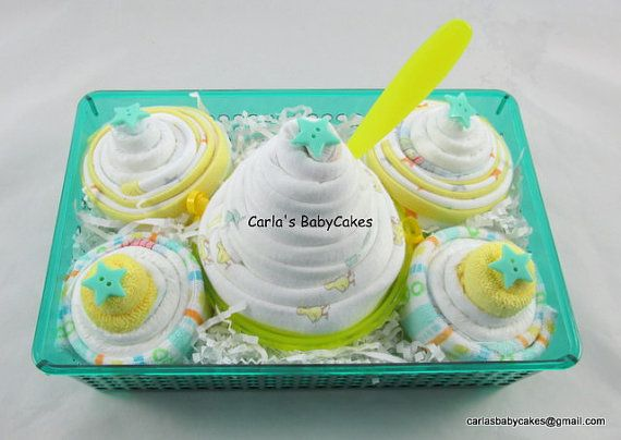 Diaper Cupcake Gift Set  New baby gift basket by MsCarlasBabyCakes