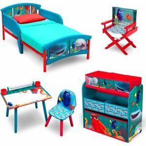 Toddler Bedroom Set Finding Dory Bed Toy Box Storage Art Desk Kids Chair New | eBay