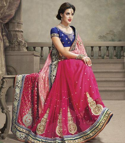 Shades of Pink Color Half Banarasi Jacquard and Half Net Designer Sarees : Shehzaadi Collection YF-20614