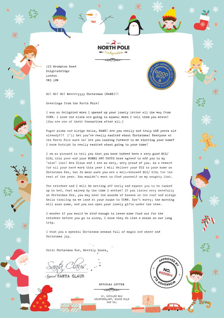 Best Santa Letter  Original Letters From Santa With Love