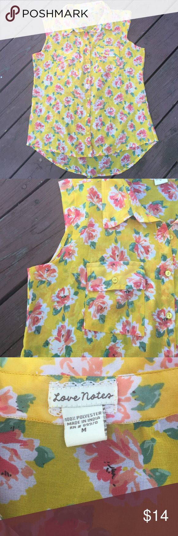 Brand new floral shirt size M Brand new collared sleeveless shirt. Yellow with pink florals. Light and flowy- cute on its own or layered for fall. I bought from TJ Maxx to wear to a work event but never ended up using it! I ship within 24 hours of sales using recycled materials 💚🌲😊 Love Notes Tops Blouses