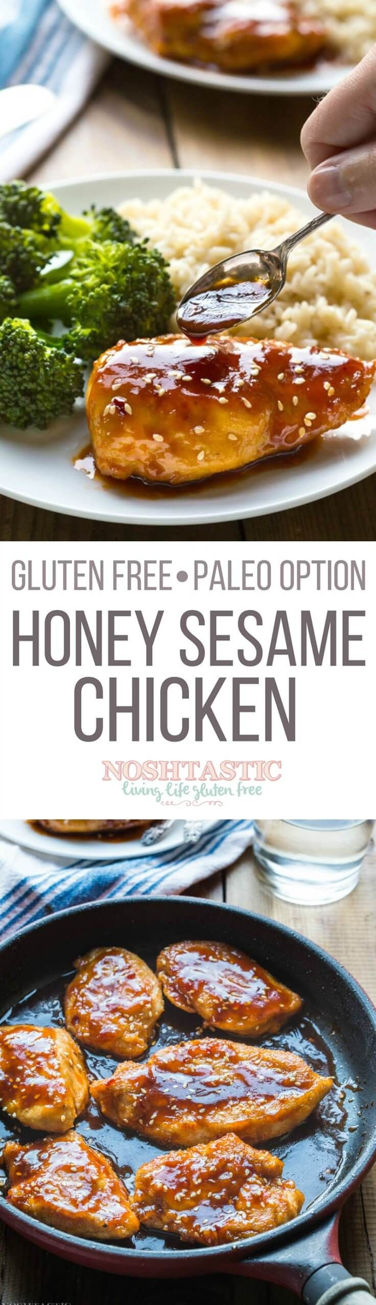 Quick, easy, and healthy too! this Gluten Free Sesame Chicken with Honey recipe is a winner and it cooks in only 10 minutes, you'll love it and probably have all the ingredients already! With Paleo option | 475 Calories Per Serving |