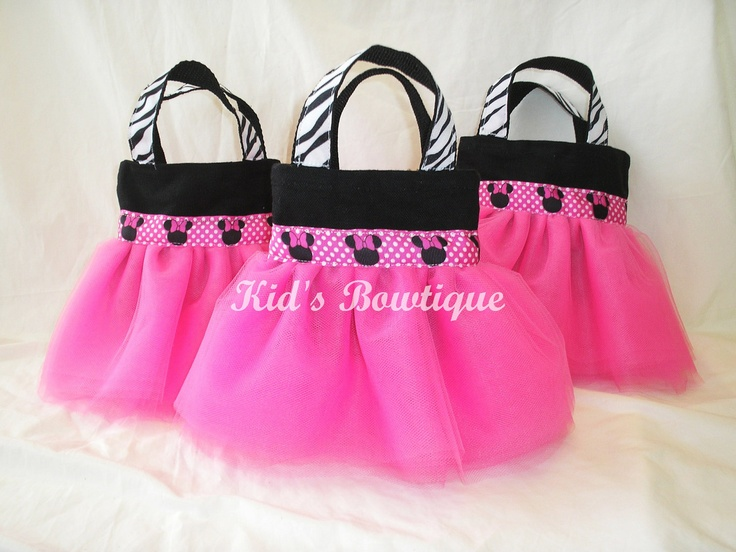 Set of 4 Minnie Mouse Themed Party Favor Tutu Bags by kidsbowtique, $39.80
