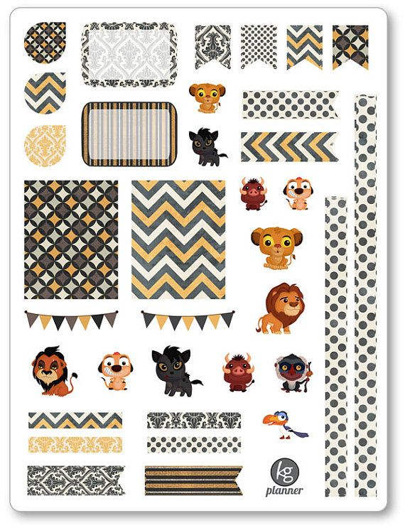 One 6 x 8 sheet of lion friends decorating kit/weekly spread planner stickers cut and ready for use in your Erin Condren life planner, Filofax, Plum