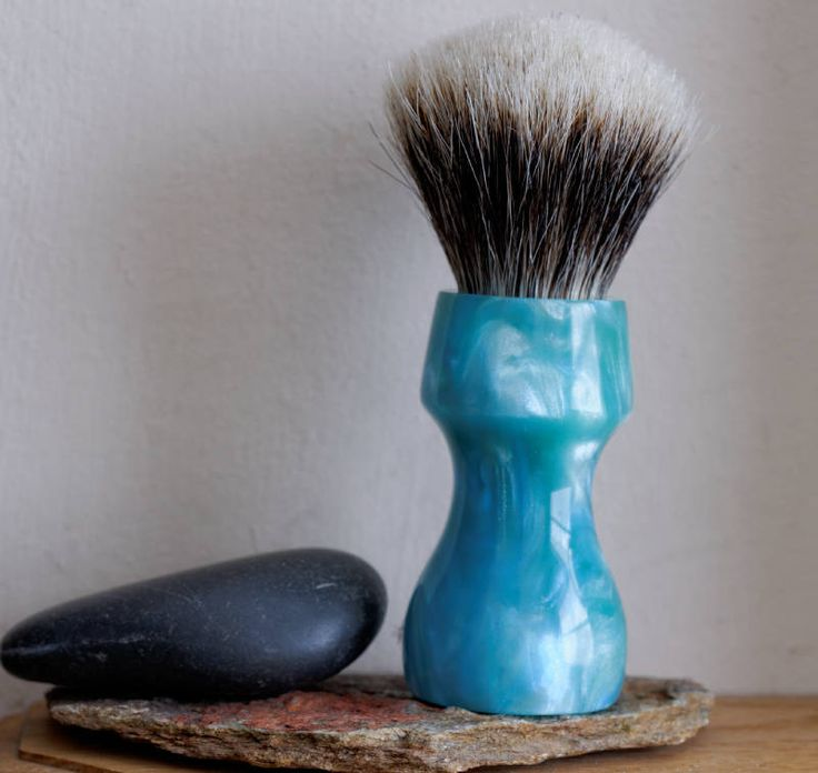 Shaving Brush - Hand-Made with hand-poured Blue and Silver Resin Handle and a Choice of Knots by LoveYourShave on Etsy